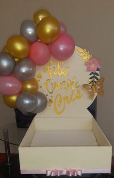 Balloon Crafts, Balloon Gift, Ballon Decorations, Birthday Decorations, Gift Hampers, Gift Baskets, Birthday Bash, Happy Birthday, Cake Drawing