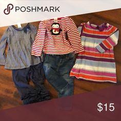 5192bcfea3b Girls clothes lot Gymboree 18-24 navy striped shirt and matching ruffle  pants size medium