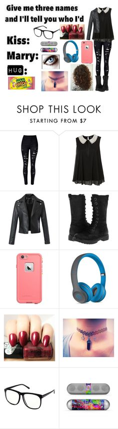 """""""Give me 3 names : Kiss , Marry and Hug"""" by moon-and-back-babe123 ❤ liked on Polyvore featuring BC Footwear, LifeProof, Beats by Dr. Dre and H&M"""
