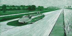 """MG EX 135 - A. T. Goldie Gardner - 1,500 Class Record - 204.3 mph - Dessau, Germany - June 2nd, 1939 Pen & ink and markers on 16""""x 8"""" green archival paper © Paul Chenard 2017"""