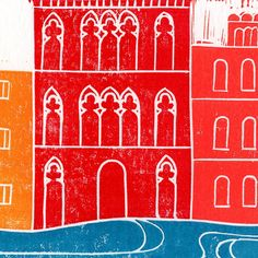 Venice Linocut Print   Wandering Paper Co.