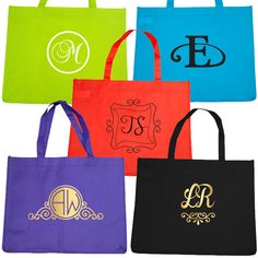 Bridal Party Budget Tote Bag with Monogram Tote Bags, Budget, Monogram, Bridal, Party, Diamonds, Bride, Carry Bag, Monograms