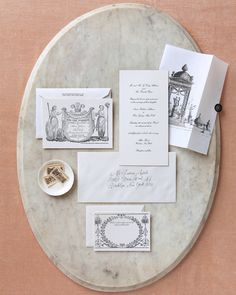 Decorative elements from 18th-century French ephemera were worked into the couple's stationery.