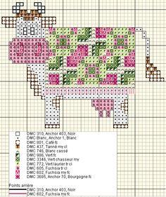 Cross-stitch Decorative Cute Cow, part 5...    Vache plaid