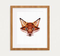 Fox Print 8x10 geometrical modern fox print