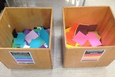 Thomas Elementary Art blog. two scrap paper bins by color family. Kids must trim scrap paper into a rectangle before putting in the bin.