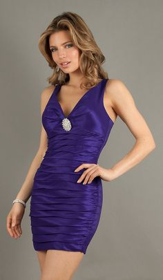 Sexy Short Purple Pleated Cocktail Dress Wide Straps V Neck $69.99