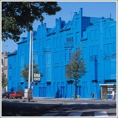 this building in Rotterdam was due to be torn down. It was boarded up and completely painted blue, transforming it from an eyesore into a temporary landmark