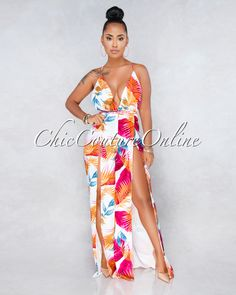Chic Couture Online - Ivanna White Multi-Color Leaf Print Jumpsuit Big Girl Fashion, Ladies Fashion, Womens Fashion, Summer Clothes, Summer Outfits, Chic Couture Online, Printed Jumpsuit, All About Fashion, Feminine Style