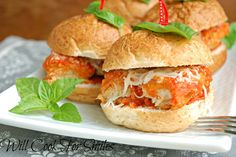 Easy 20 Minute Chicken Parmesan Sliders - Recipe: This is a wonderful and easy weekend lunch. I've been craving some Chicken Parmesan but I knew that I had a whole night of cooking ahead of me. I was working on a cake (that is still in progress). I'm hoping to share it with you, but only if it comes out good. So, I made these Chicken Parmesan Sliders on a stove top and it only took me about 20 minutes. Delicious lunch and practically effortless…win-win! - Lyuba