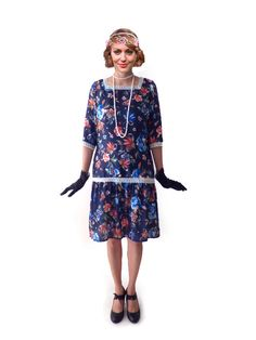 Retro Floral Flapper Dress Great Gatsby Dress by FoldedRoses