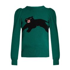 Gucci Panther intarsia-knit wool sweater (£1,230) ❤ liked on Polyvore featuring tops, sweaters, green, vintage slip, patterned sweaters, intarsia sweater, puff sleeve top and ruched tops