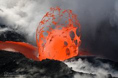 """""""Lava accumulates a tremendous amount of pressure until it escapes in an explosion. These lava bubbles are extremely rare and are by far my favorite aspect of volcanic activity to shoot as you never know what you'll capture"""" - Kalapana Hawaii [900x600] Photo by Bruce Omori"""