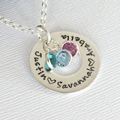 Mother Hand Stamped Necklace with Children's by DesignMeJewelry