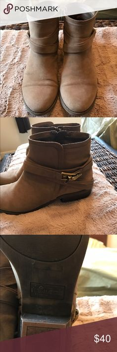 Brown Fergalicious ankle boots Cute brown Feralicious brown ankle boot with Buckle. Only slightly worn. Size 9 /12. Bought from Nordstrom just too big. Fergalicious Shoes Ankle Boots & Booties
