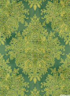 eQuilter - Tuscan Sunflowers - Diamond Damask - Bamboo Green/Gold, from the 'Tuscan Sunflowers' collection by Punch Studio for Hoffman Fabrics.