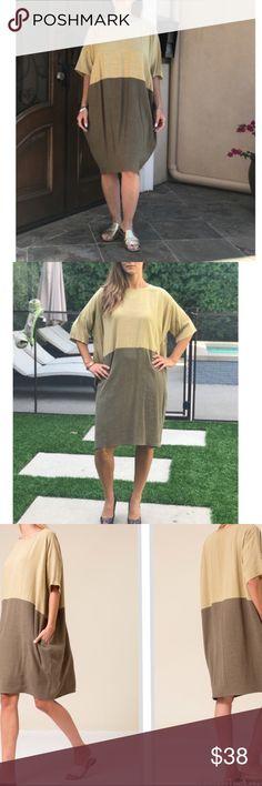 Olive Color Block Dress Beautiful olive Color Block Dress . Linen. New . Runs big . Bundle option . Dresses