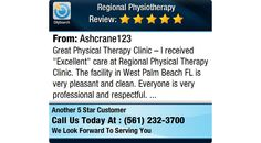 "Great Physical Therapy Clinic – I received ""Excellent"" care at Regional Physical..."