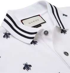 Gucci Slim-Fit Embroidered Cotton-Blend Piqué Polo Shirt - Men Polo Shirts - Ideas of Men Polo Shirts Gucci Polo Shirt, Polo Shirt Outfits, Polo Rugby Shirt, Gucci Shirts, Pique Polo Shirt, Polo T Shirts, Men's Polo, Polo Shirt Design, Polo Design