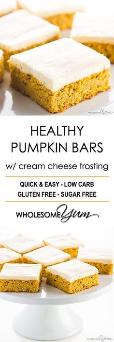 Low Carb Healthy Pumpkin Bars with Cream Cheese Frosting - This easy pumpkin bars recipe with canned pumpkin & cream cheese frosting is gluten-free & low carb, with healthy, natural ingredients. Just 10 min prep! #lowcarbrecipes #lowcarbbars #pumpkinbars