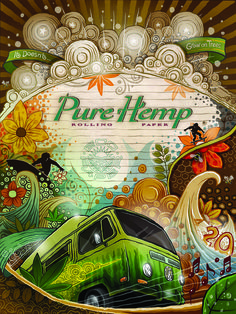 "PURE HEMP 20th Anniversary Poster ""IT DOESN'T GROW ON TREES"" Art Poster 18 x 24 Inch Lithograph Poster on Matte Paper *poster comes folded in envelope"