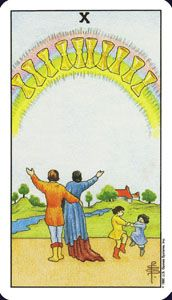 How to read the 10 ten of cups card in the minor arcana of the rider waite tarot