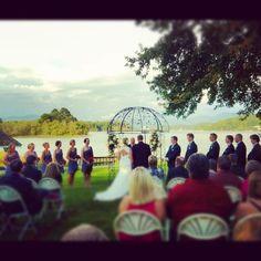 Lakeside lawn ceremony at The Ridges Resort in Hiawassee GA