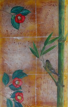 Artist: Hiroshi Yamano  Title: The Camellia and Greenfinch on the Bamboo tree Process: kiln work, fusing the silver foil, painting Size: 26.5 x 16.75 x 1 Inches Year: 2016 Please contact the gallery for pricing  Habatat Galleries 248.554.0590 – info@habatat.com