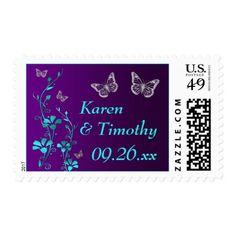 Purple, Teal Floral, Butterflies Wedding Postage