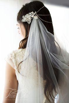 Bridal draped veil drape veil Ivory headpiece by VelvetOwlBridal