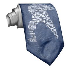 Hockey Goon Enforcer Typographic Neck Tie. For loads of great Christmas and Holiday gift ideas for sports mad family and friends, please check out my store: http://www.zazzle.com/gamefacegear*/