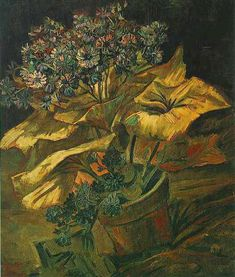 Vincent Van Gogh [1853 -1890] painted several versions of landscapes with flowers, as seen in View of Arles with Irises, and paintings of flowers, including Irises, Sunflowers, lilacs and roses. Some reflect his interests in the language of color, and also in Japanese ukiyo-e woodblock prints.