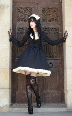 Cute Blue Gothic Lolita Dress / Headband / Fashion Photography / Gothique Girl / Cosplay // ♥ More at: https://www.pinterest.com/lDarkWonderland/