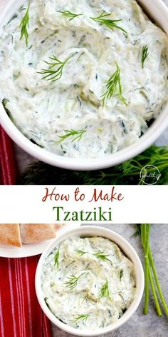How to Make Tzatziki (Greek yogurt + cucumber dip) How to make tzatziki - a cucumber and yogurt sauce that is common in Greek and Mediterranean cuisine. Tzatziki goes great on so many things, and it is truly so versatile. Cucumber Dip, Cucumber Recipes, Cucumber Yogurt Sauce, Recipes With Dill, Recipes With Yogurt, Greek Food Recipes, Mediterranean Diet Recipes, Mediterranean Dishes, Mediterranean Salad Dressing