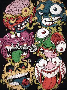 Madballs Cartoon Monsters, Cool Monsters, Cartoon Art, Arte Horror, Horror Art, Arte Punk, Trash Art, Goth Art, Monster Art