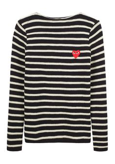 Comme Des Garçons Play boatneck sweater with red emblem detail. A favorite pair of jeans and original, white Converses for some serious Saturday style.