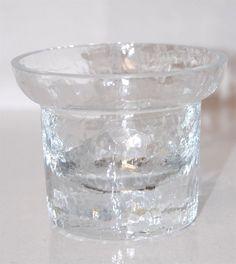 Krosno Poland Crazed Texture Glass Votive Candle Holder