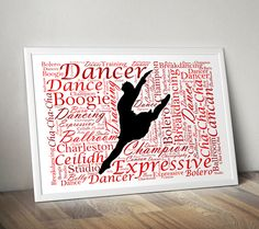 Makes a great gift for a dancer or dance group. Personalise this Dancer silhouette Word Art Print with all your own words. - The first word will be the main highlighted word. - The rest of the words are then randomised to form the word art shape. Dancer Silhouette, The Dancer, Dance Gifts, Personalised Prints, Dance Teacher, Important Dates, Dance Photography, Dance Moms, Word Art