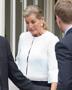 Sophie, Countess of Wessex almost tripped as she made her way down the steps of Mosimann's Belfry in Central London following a lunch at the private dining club in her role as patron of charity DEBRA
