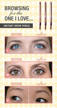 instant: instant brow pencil before and after photos in shades light, medium, and deep: Benefit Cosmetics These are awesome! Beauty Tips For Skin, Beauty Secrets, Health And Beauty, Beauty Products, Beauty Hacks, Makeup Tips, Beauty Makeup, Hair Makeup, Hair Beauty