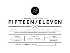 Typography and grid... Fifteen Eleven Paper Shop Logo (Washington D.C.) by Erin Jung of The Indigo Bunting.