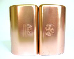 Vintage Copper-Colored Salt & Pepper Shakers with Art Deco Style