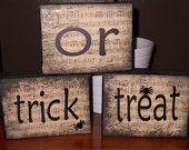 Halloween Trick or Treat wood blocks. Halloween Letters, Halloween Pumpkins, Fall Halloween, Halloween Decorations, Shelf Paper, Halloween Trick Or Treat, Wood Blocks, I Am Happy, A Table