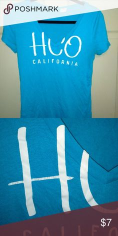 Hollister t-shirt Aqua blue short sleeve vneck t-shirt with logo.  Gently worn as shown in the second picture! Get it before its too late!!! Hollister Tops Tees - Short Sleeve