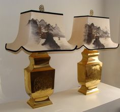 Pair of Large Stunning Hollywood Regency Gold Lamps by studio180, SOLD Chinoiserie Japanese Hand Painted Silk Shades