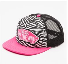 036f4ebbfb9 Black and white zebra print with pink vans hat! Awesome! Love Hat