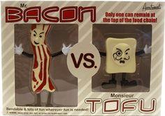 Mr.Bacon Vs. Monsieur Tofu Action Figures. awesome! :) http://awesomeweirdgifts.com/mr-bacon-vs-monsieur-tofu-action-figures/