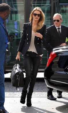 Rosie Huntington-Whiteley street style in Paris with leather pants and tailored blazer.