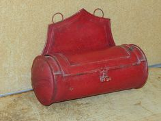 """A GREAT 19TH C PA TIN CANDLE BOX IN THE BEST OLD RED PAINT WONDERFUL BACK CREST VERY REAR PUNCHED """"PINWHEEL"""" DECORATION ON THE SIDES.   Sold  Ebay   295.00"""
