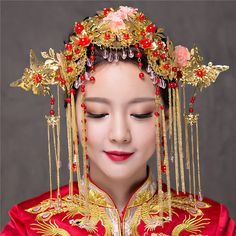 Chinese Traditional Classical Wedding Hair Accessories Set Headdress Coronet Crystal Tassels Headband Earrings Brides Jewelry